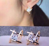 Womens Square Pierced Gold  Crystal Zircon Stud Earrings