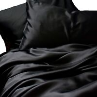 Black Satin Sheets KING Size 4 Piece Luxury Bedding Set Silk Feel Bed Linen NEW