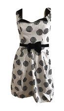 RETRO 50'S 60'S WHITE BLACK COTTON BOW GEOMETRIC DRESS UK 8 EU 36 US 4 XS BNWT