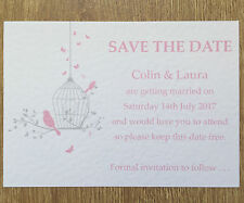 50 Personalised Vintage Save The Date Wedding cards - butterfly & birdcage #1