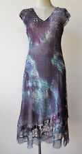 Komarov Chiffon & Lace Abstract Print Cap Sleeve Dress Purple M $298 NWT