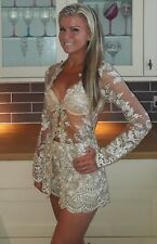 Nude gold lace sheer playsuit dress hotpants dolls house the shorts XL 14 the