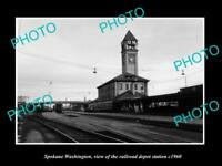 OLD LARGE HISTORIC PHOTO OF SPOKANE WASHINGTON, THE RAILROAD DEPOT STATION c1960