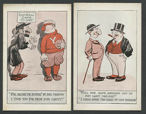 Two c.1910s-20s ANTI-SEMITIC JEWISH STEREOTYPE CARTOON CHARACTER Postcards