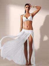 Women Sheer Chiffon High Split Long Maxi Skirt beach skirt 5color without bikini