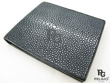 PELGIO Genuine Polished Stingray Skin Leather Soft & Slim Bifold Wallet Black
