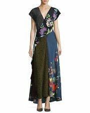 NWT Diane von Furstenberg Draped Floral & Dot Silk Maxi Dress 10 $698