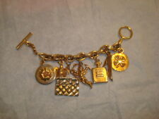 """Authentic Rare Vintage Chanel Gold Tone Iconic """"Lucky Charms"""" Charm Bracelet EVC"""