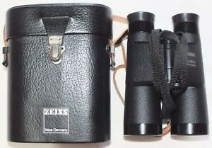 """ZEISS 10X40B WEST GERMAN PRE 1991.WITH CASE AND STRAPS.""""T"""" COATED LENS."""