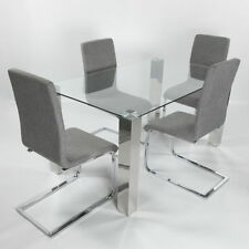 Glass Dining Room Table & Chair Sets with 4 Pieces