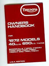 1972 Triumph T120, OIF, Bonne,Tiger,Trophy. OEM, OWNERS BOOK , Brown Paper Wrap