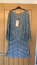 Ladies Cover Up Beach Dress, Crochet Grey Blue Bnwt M&G one size (12aprox)