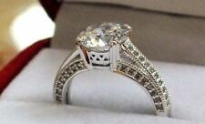 3 CT Man Made Diamond Engagement Ring 14K White Gold  Antique Pave Round setting