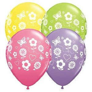 """10 pc 11"""" Fun Flowers Around Latex Balloon Party Decoration Daisy Butterfly"""