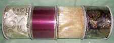 """4 bolts  assorted wire edged ribbon 2 1/2"""" golds, burgundy , ivory and black"""
