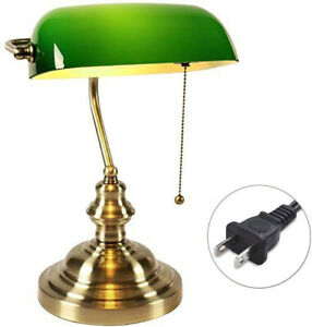 Traditional Green Banker Desk Lamp Pull Chain Switch Glass Light Satin Brass