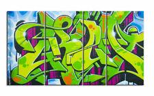 GRAFITTI STREET ART Leinwand 4 BILDER WANDBILD D00731 MEGA XXL LIVING PICTURE