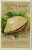Rare Clam~ VINTAGE COMIC FANTASY POSTCARD ~CLAM IN SHELL ~ SPEAK YOU CLAM -a732
