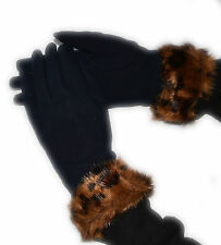 GLOVES GLOVE GLOVES WOMAN PADDED HOT WOOL BLACK PANCHAL SYNTHETIC LEOPARD