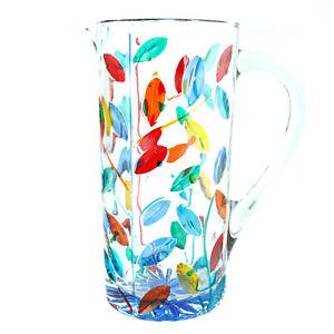 Murano Glass Water Jug Multi Coloured Blue Bottle Carafe Pitcher Art