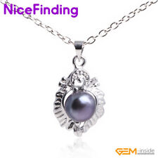 9-10mm Natural Freshwater Cultured Pearl Crystal Necklace Pendants Women Jewelry
