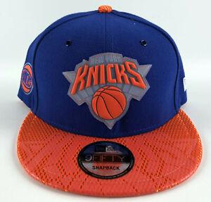 New York Knicks Baseball Snapback Hat New Era 9Fifty On Court Blue Orange Rubber