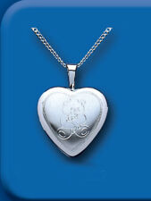 "Sterling Silver 16mm Teddy Bear Heart Locket & 16-18"" Chain BT4725"