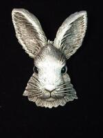 """JJ"" Jonette Jewelry Silver Pewter 'Beautiful RABBIT Head' Pin"