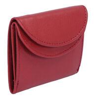 Minibörse kleine Geldbörse Portmonee LEAS  in Echt-Leder halbrund, rot