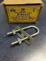 "U-BOLTS 3/8"" NUTS AND PLATES 10PCS ZINC CHROMATE FINISH 63C (LL1700)"