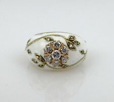 VINTAGE WHITE ENAMEL AND DIAMOND 14KT. GOLD RING