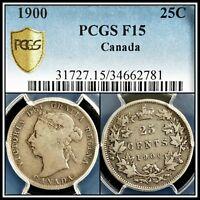 1900 Silver Canada 25 Cents PCGS F15 Fine Quarter Dollar 25c Classic Coin