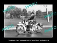 OLD POSTCARD SIZE PHOTO OF LOS ANGELES POLICE DEPARTMENT HARLEY DAVIDSON c1930