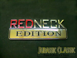 "Ford Cars Chrome ""REDNECK EDITION"" Decal Logo Emblem Hood Door Badge"