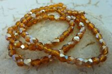 70 pce Half Pearl Luster Topaz Brown Electroplate Faceted Oval Glass Beads 4mm