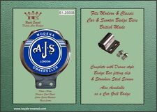 ROYALE CLASSIC CAR BADGE & BAR Clip AJS MODENA SCOOTER proprietari CLUB BLU B1.2555 B