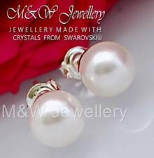 925 Sterling Silver Stud Earrings PEARL White 8mm Crystals From Swarovski®