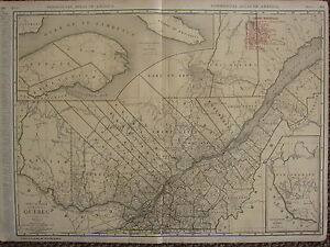 1922 LARGE AMERICA MAP ~ QUEBEC RAILROADS PRINCIPAL CITIES RAND MCNALLY