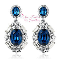 18K White Gold GF Made With Swarovski Element Luxury Oval Sapphire Earrings