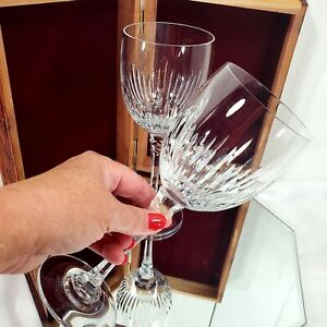 """2 Towle crystal Majesty Water Glass Wine Goblet 8 5/8"""" cut crystal lines c.1982"""