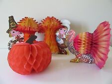 Thanksgiving Table Lot of 4 Honeycomb Centerpieces Denmark Tissue Art Pilgrims