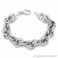 Romy Cable & Twist-Rope Link Hollow .925 Sterling Silver Italian Chain Bracelet