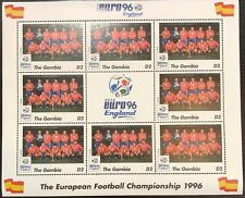 Gambia '96 Euro England Football Championship Stamp- Spain Sheetlet of 9