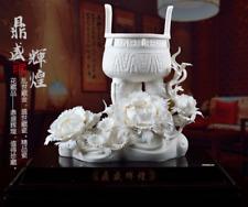 China Dehua Porzellan Baum Pfingstrose Blume Ding Weihrauch Räuchergefäß Statue