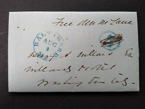 Maryland: Baltimore 1850 (circa) Stampless Cover, 5c Rate Rerated to Free