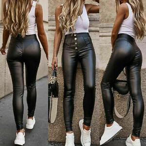 Women's Wet Look Faux Leather Pants Ladies High Waist Skinny Leggings Trousers