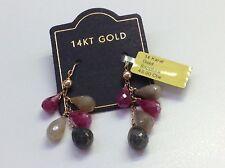 NWT 14kt Gold Drop Pierced Multi Color Sapphire Earrings