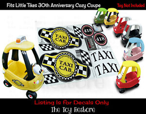 The Toy Restore Custom Taxi Stickers fits Little Tikes Cozy Coupes Cars DIY Cab
