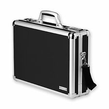 Vaultz Laptop Case Locking Black Chrome Steel Business Briefcase Pockets NEW