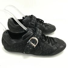 DIOR Black Patterned Lace Up Casual Stud Designer Trainers UK 5 EU 38 081013